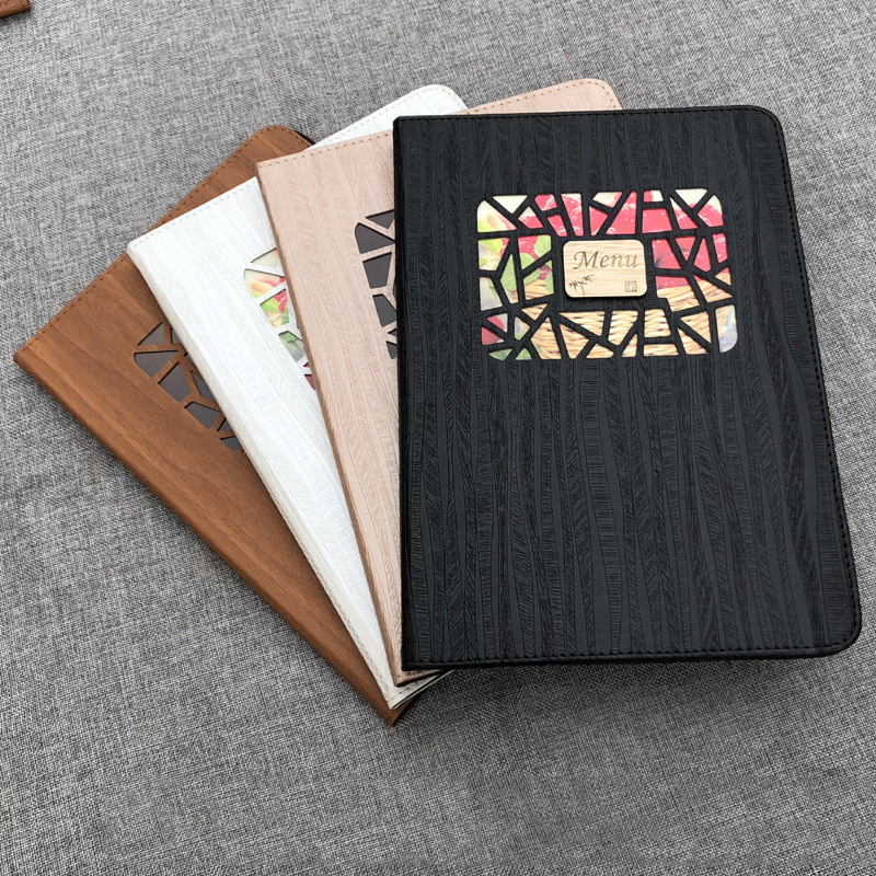 A4 Wooden PU Leather Cover Transparent PVC Inner Bag Recipe, 8 Pages 16 View Menu.