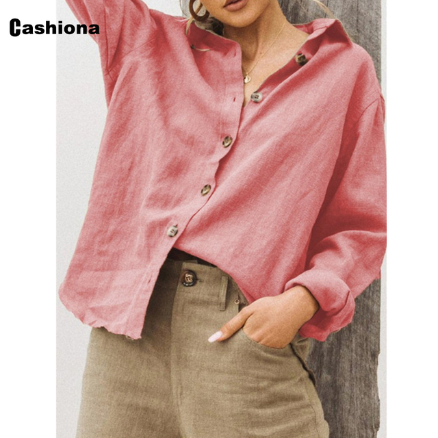 Women Lepal Collar Leisure Blouse Plus Size Ladies Top Cotton Linen Shirts Feminina blusas shirt ropa mujer womens clothing 2021 5
