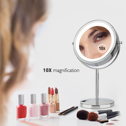 Moda 7 Polegada espelho de maquiagem dupla face 10x lupa metal compacto 360 graus rota