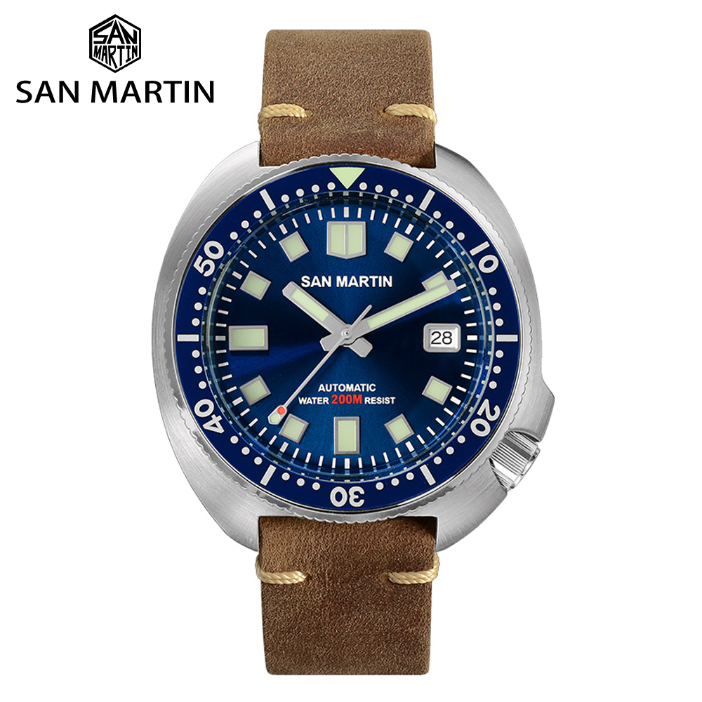 San Martin Retro Diver Watches Stainless Steel Men's Automatic Mechanical Watch Luminous Water Resistant Sports Watch Relojes