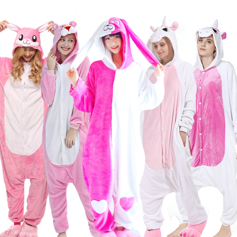 Pajamas For Women Unicorn Kigurumi Flannel Cute Animal Pajamas Sets Women Winter Sleepwear Unicornio Nightie Pyjamas Home Wear
