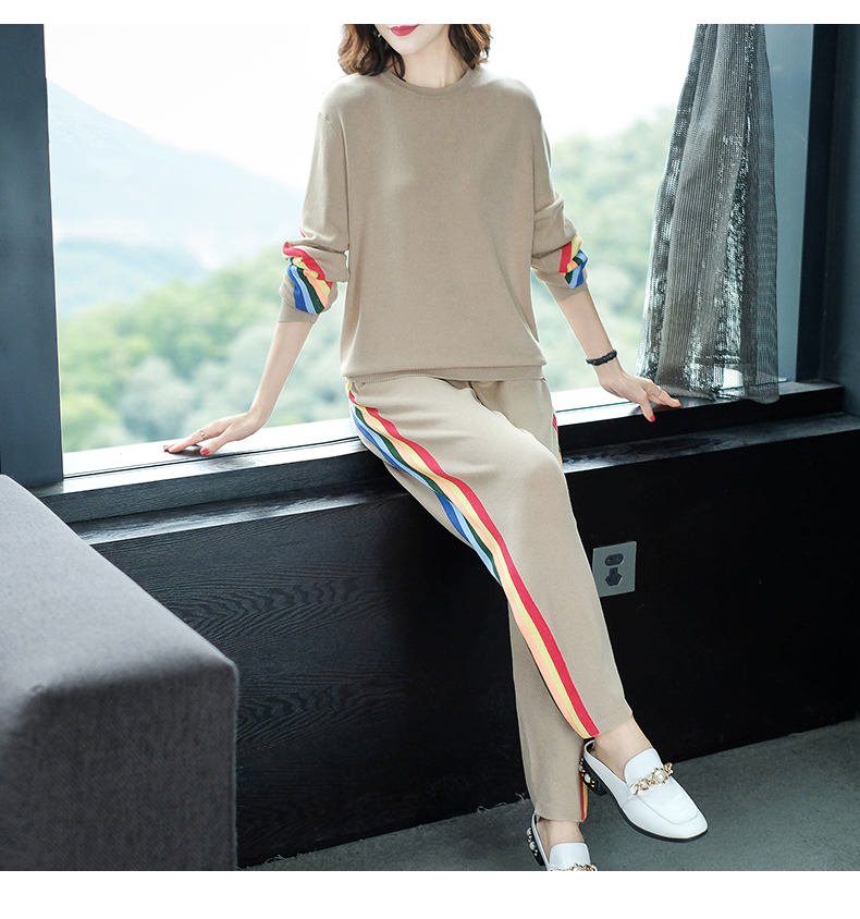 2019 Autumn Knitted Casual Striped Two Piece Sets Outfits Women Sweater And Pants Suits Fashion Elegant Korean Tracksuit Sets 56