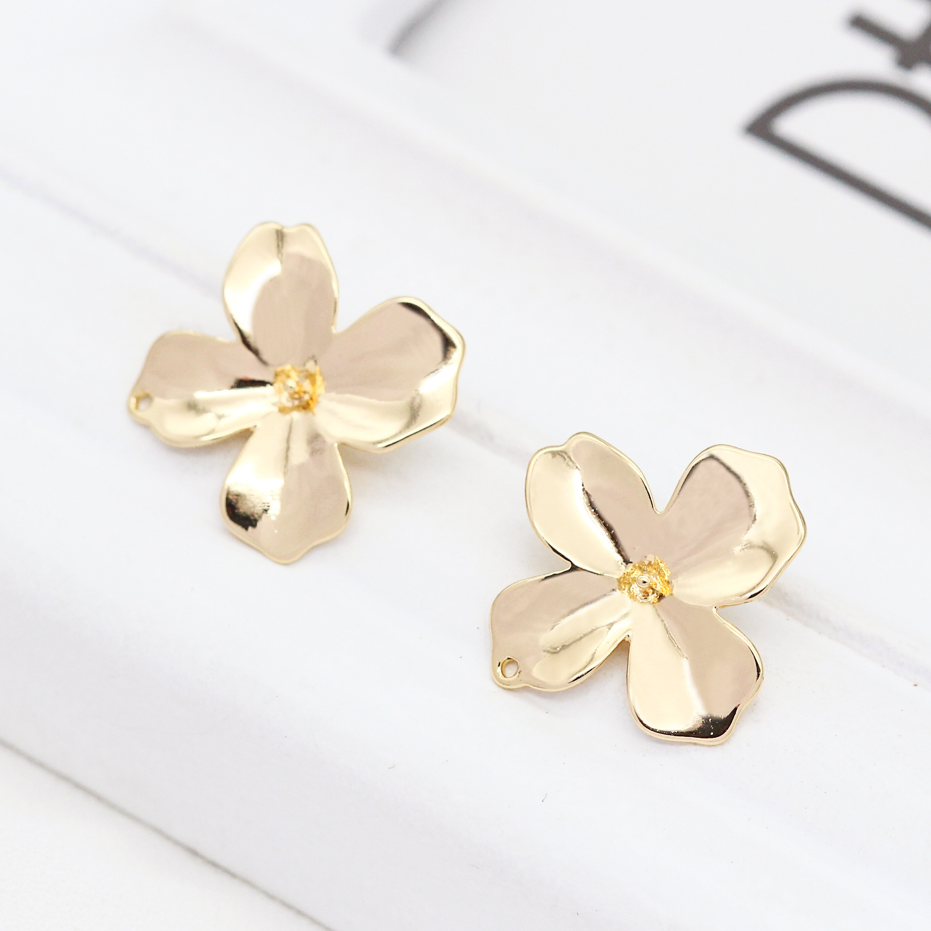 6PCS 14MM 24K Gold Color Brass Flower Charms Pendants High Quality Diy Jewelry Findings Accessories Wholesale