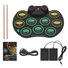 Digital Roll Up Drum Pad Silicone Electronic Drum Set Practice 10 Drumpads Built-In Double Speakers with Sticks and Foot Pedals