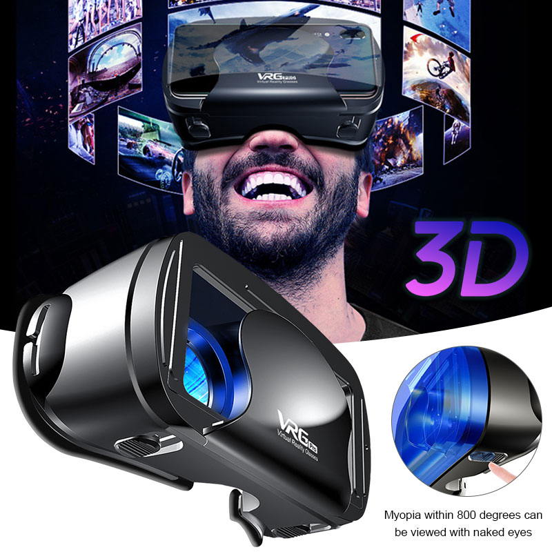 New VRG PRO VR Gglasses Virtual Reality 3D Glasses Full Screen Visual Wide-Angle VR Glasses  For 3.5 To 7 Inch Smartphone Eye