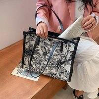 Mode Explosion Stil Handtasche 2021 Neue Jacquard Bestickt Baumwolle Leinen Tasche Große Kapazität Handtasche Brieftasche Schulter Tasche