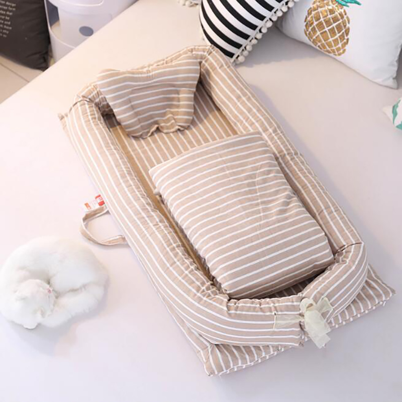 Baby Portable Crib Cotton Sleeping Crib Basket Safety Protection Pad Travel Removable 3pcs/set With Quilt YHM020