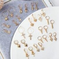 JJFOUCS nouveau cristal croix minuscule cerceau boucles d'oreilles pour les femmes mode or Rose fleur étoile Triangle Cartilage boucles d'oreilles bijoux de charme