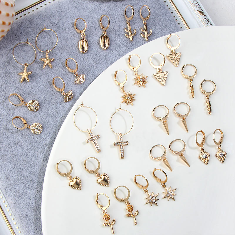 JJFOUCS New Crystal Cross Tiny Hoop Earrings For Women Fashion Gold Rose Flower Star Triangle Cartilage Earrings Charm Jewelry