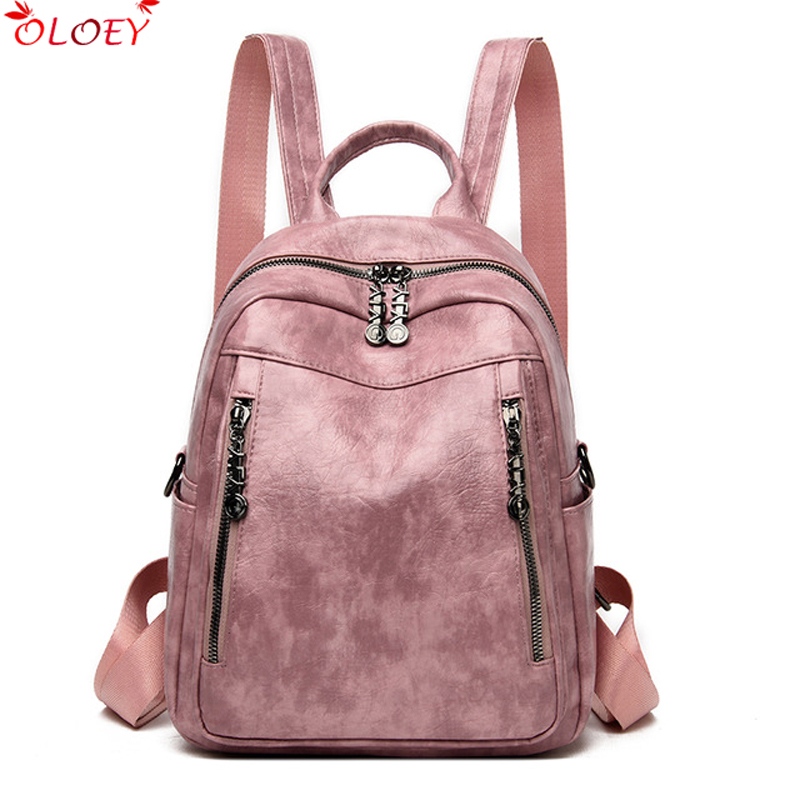 Ladies Retro Bagpack Soft Pu Leather School Bags For Teenage Girls Mochila Feminina Backpack Women Travel Back Pack Sac A Dos