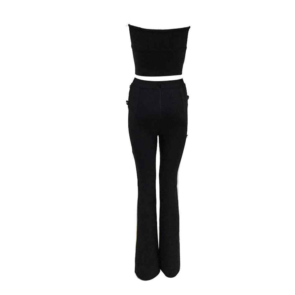 2019 New Celebrity Evening Party Jumpsuit Women Sleeveless Strapless 2 Two Piece Set Sexy Nightclub Full Length Women Jumpsuit