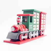Wooden Christmas Calendar Advent Countdown Colorful Calendar Painted Train Candy Storage Decoration Gift Supply