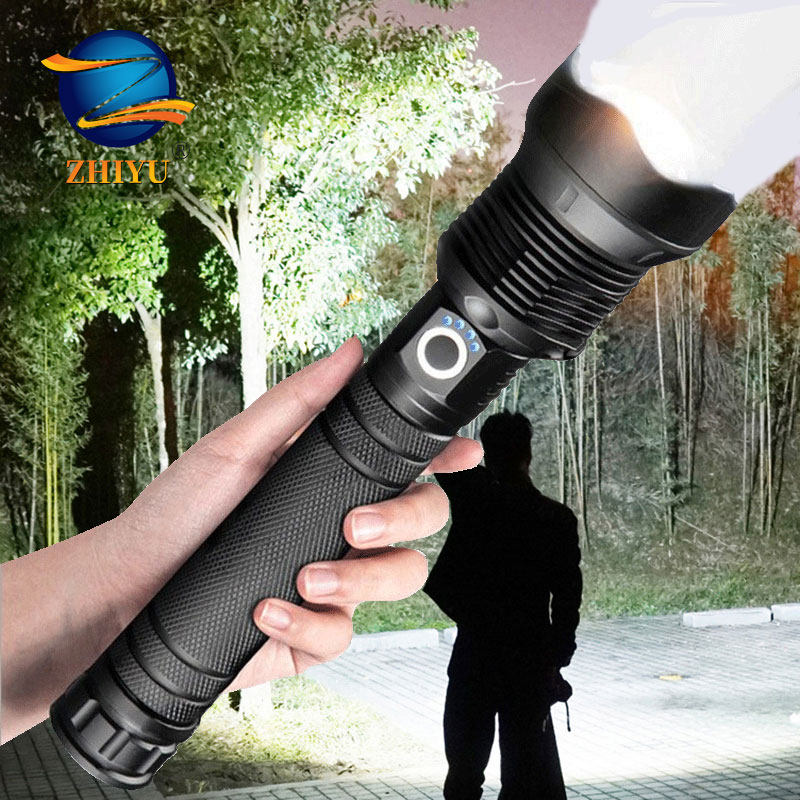 ZHIYU Powerful LED Flashlights XHP 70 50 Super Bright Flash Lights USB Rechargeable Zoom Tactical Torch Camping Searching Lamp LED Flashlights    - AliExpress