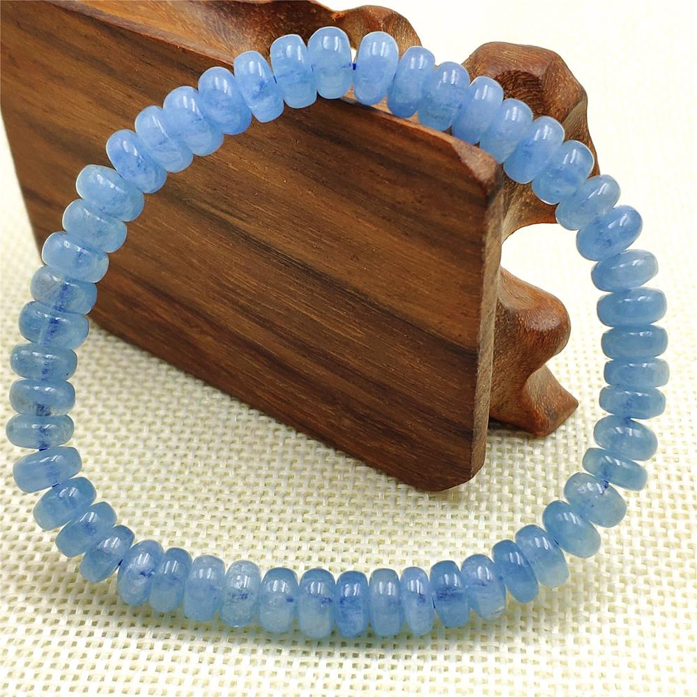 7mm Natural Blue Aquamarine Quartz Crystal Clear Abacus Beads Bracelet From Brazi Fashion Stone For Women Men AAAAA(China)