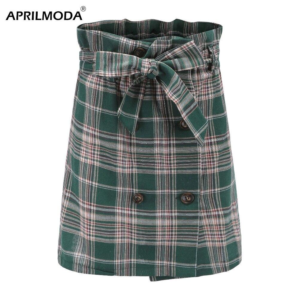 Женская клетчатая облегающая мини-юбка с принтом в стиле панк, готика, мини-юбки, Короткие Зеленые бандажные Harajuku Юбки с ремнем