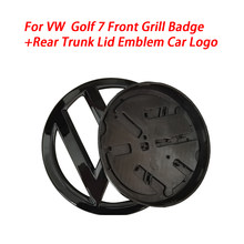 Gloss preto 138mm frente grill distintivo + 110mm tronco traseiro tampa emblema logotipo do carro apto para vw volkswagen golf mk7 todos os modelos 2013-2017