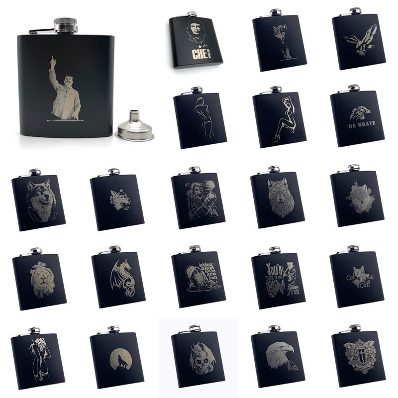 Alalinong B110 Black Hip Flask 6 Oz Stainless Steel Personalized Laser Engraved Flask Alcohol Liquor Whiskey Rum With One Funnel