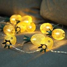 LED 1.5M10Lamp Iron Retro Pineapple Light Christmas Lantern Festival Strings Bedroom  Courtyard Decorative Battery