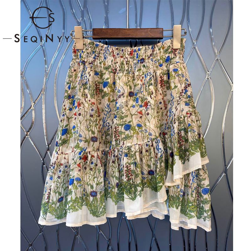 SEQINYY Green Flowers Print Skirt 2020 Summer Spring New Fashion Runway Design Female Franch Style Ruffles Elastic Waist Mini