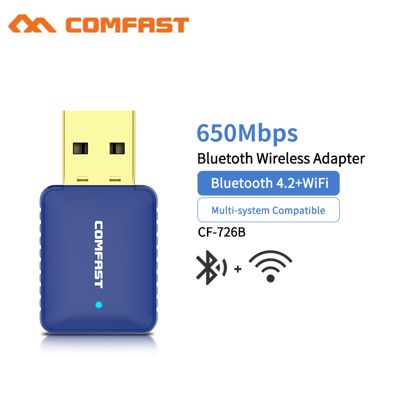 Comfast CF-726B Mini USB 650Mbps Wireless Wifi Adapter Dongle Receiver 5.8Ghz Network LAN Card PC Bluetooth 4.2 Receive Transmit