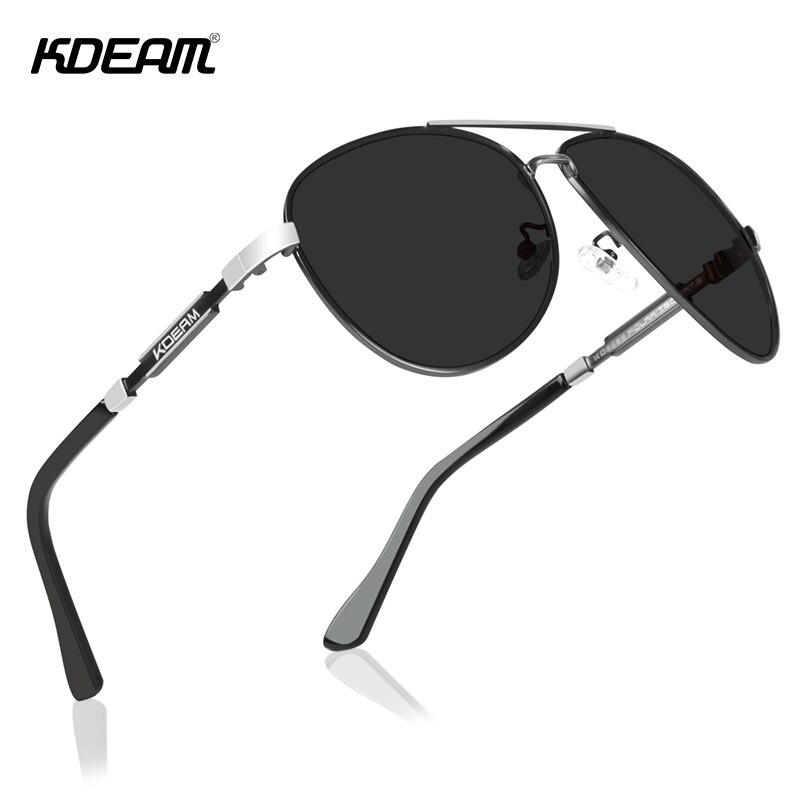 KDEAM Cat.3 Polarized Sunglasses Men Pilot 62mm Lens Designer Driving Sun Glasses with Zipper Case