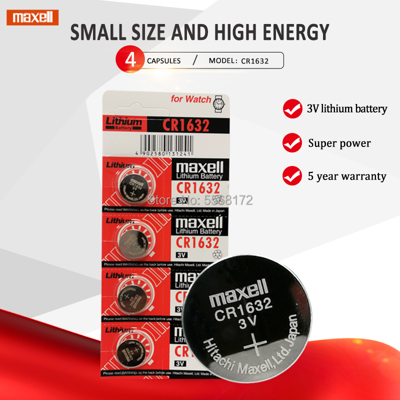4 X Original Brand New Battery For Maxell Cr1632 3v Button Cell Coin Batteries For Watch Computer Cr 1632 Suitable Watch