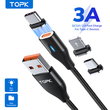 TOPK USB Magnetic Type C Cable Magnetic Charging Micro USB Cable for iPhone 7 8 11 Pro XR XS Max Xiaomi Samsung uslion l line led magnetic cable 90 degree for iphone x xs xr 8 7 6 usb type c usb c cable for samsung xiaomi micro usb cable
