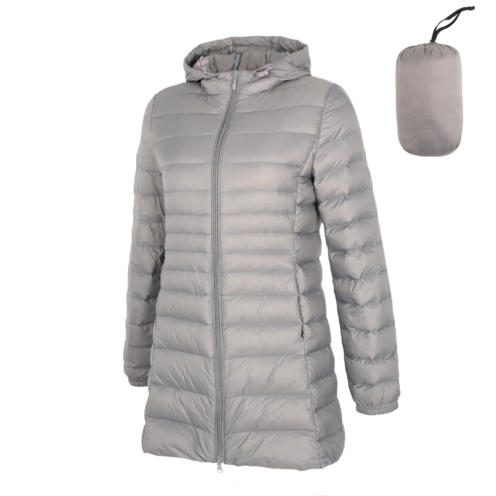 2019 Spring Matte Ultra Light Down Women Long Jacket Soft Warm Windbreaker Duck Down Coat Gray