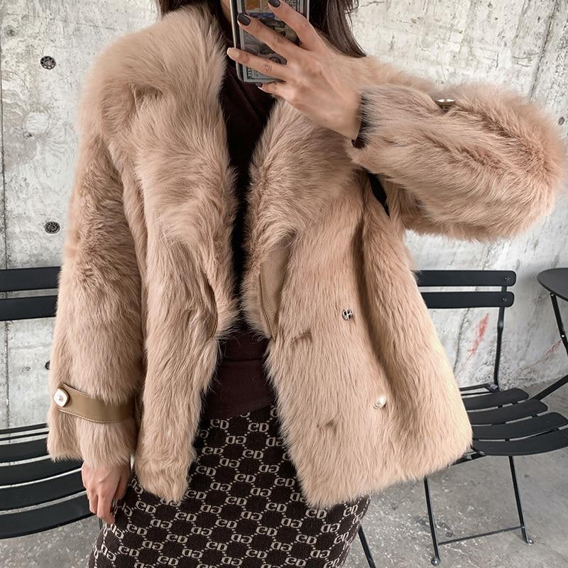 Vintge Natural Fur Coat Female Winter Wool Coats Women Clothes 2020 Korean Double Faced Fur Tops 100% Wool Jackets Hiver 19016