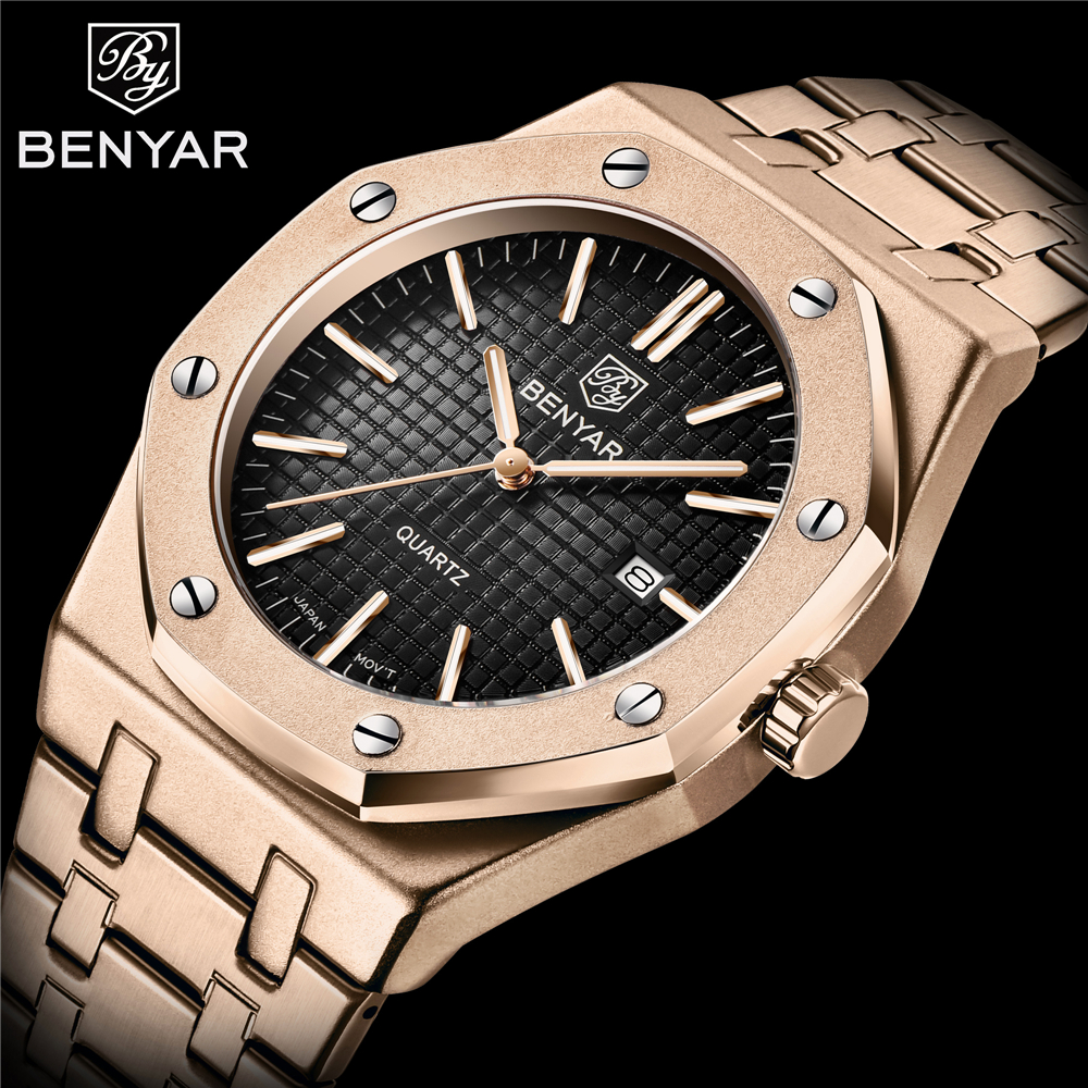 2020 BENYAR Mens Watch Top Luxury Brand Mens All-Steel Quartz Watch Analog Waterproof Sports Army Military Watch image