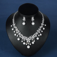 WEIMANJINGDIAN Cubic Zirconia and Shell Pearl Floral Necklace and Earring Wedding Bridal Jewelry Set