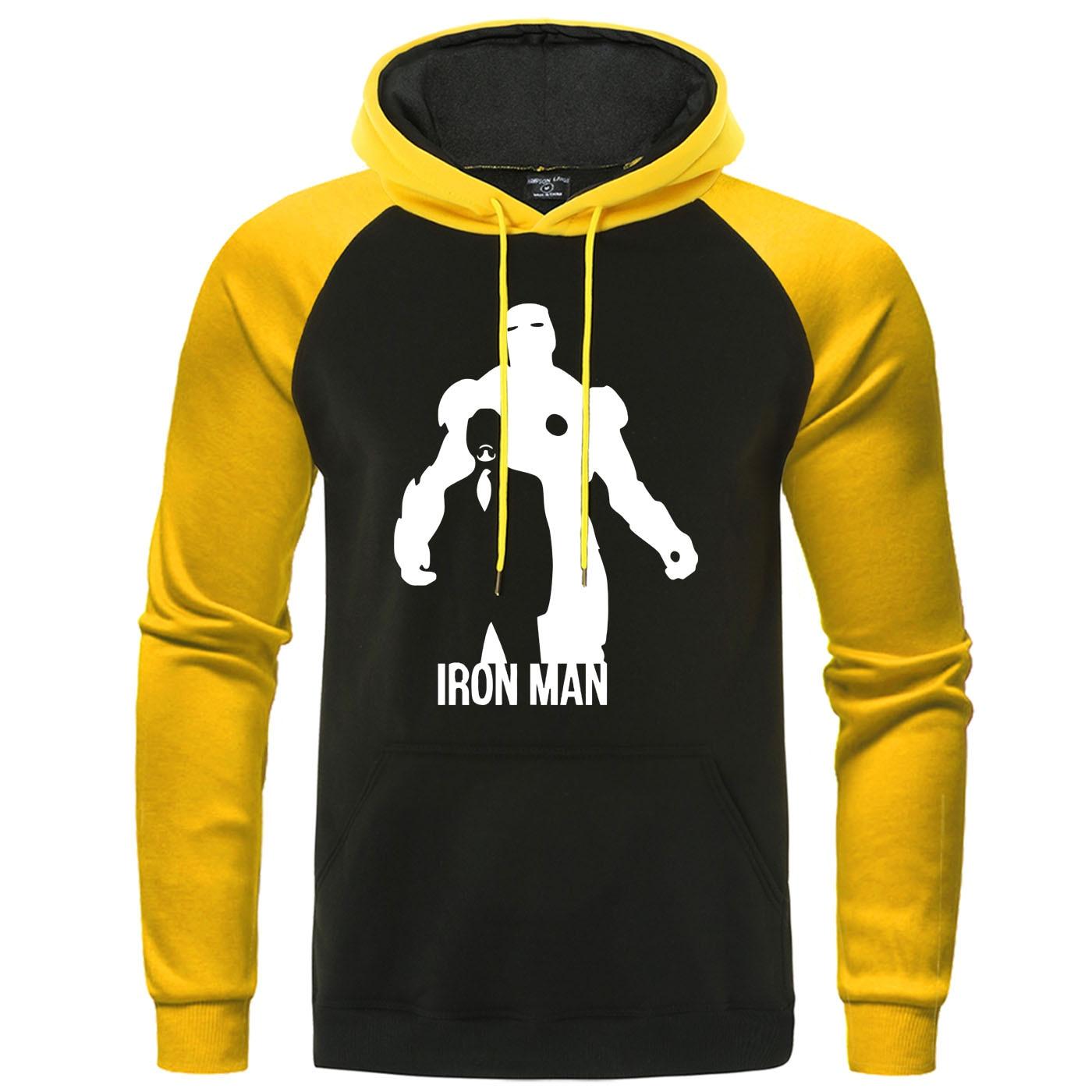 Iron Man Hoodies Autumn Fleece Warm Fitness Casual Men Raglan Pullover Camisas Tracksuit Tony Stark Print Men's Brand Sweatshirt