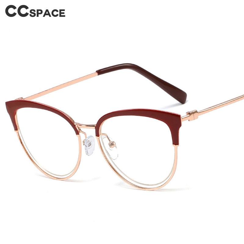 48105 Cat Eye Hollow Half Frame Ultralight Glasses Frames Men Women Optical Fashion Computer Glasses