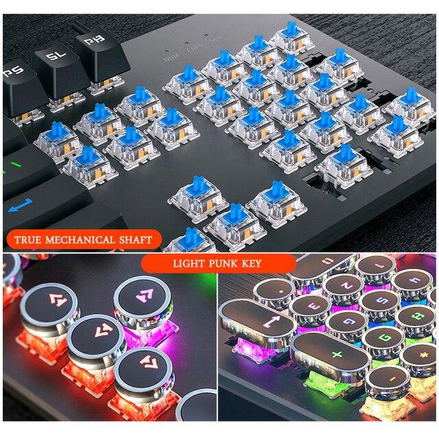 Gaming Mechanical Keyboard Punk Round Retro Keycap Backlit USB Wired Computer Peripherals 5