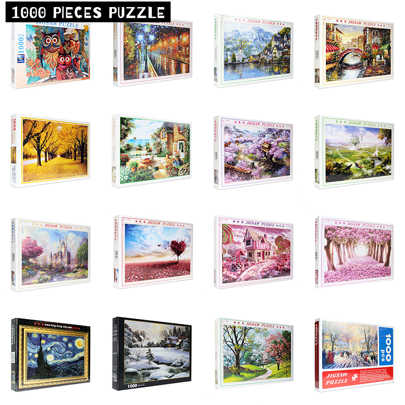 Diy Mini Jigsaw Puzzles 1000 Pieces Landscape Puzzle Educational Toys For Adults Children Kids Games Toys Gifts