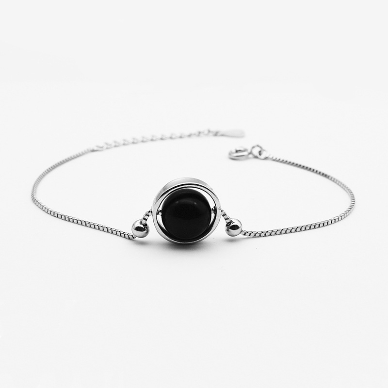 Ruifan Fashion Round Black Agate Box Chain Bracelet Ladies Lucky Charm 925 Sterling Silver Bracelet for Women Jewelry YBR050