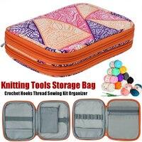 Estuche de almacenamiento con compartimentos, accesorio, gancho de ganchillo, bolsa portátil, herramienta para tejer, organizador, costura rectangular de doble capa