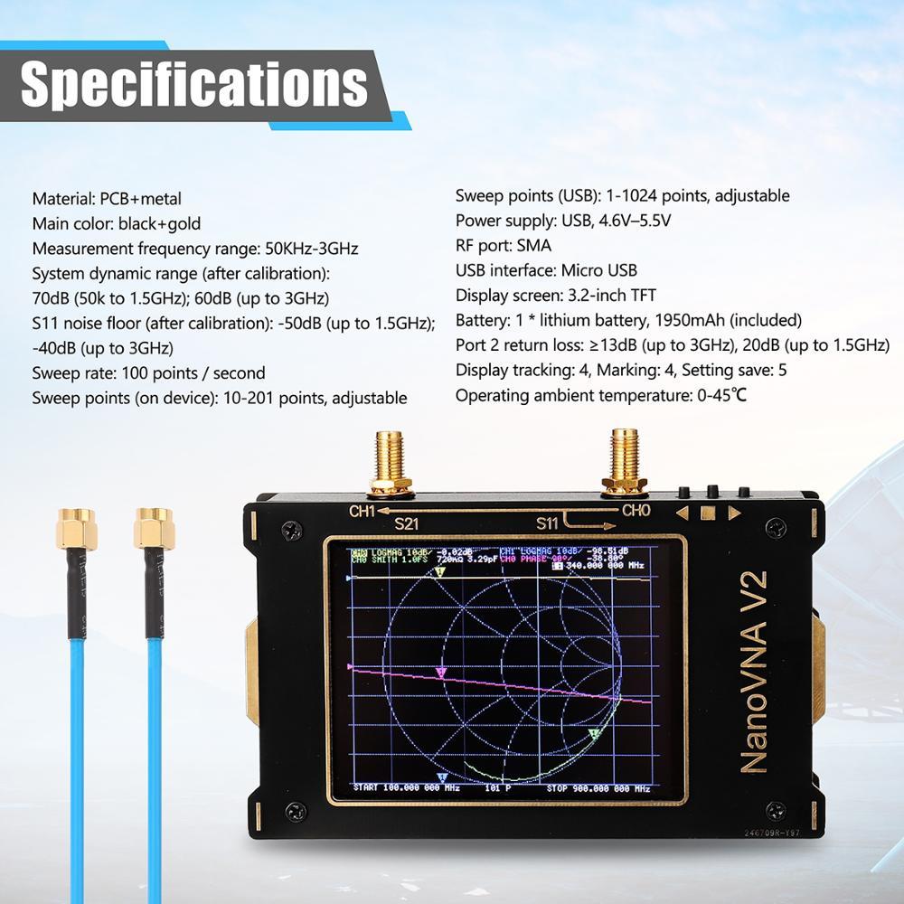 Tools : 3G Vector Network Analyzer S-A-A-2 NanoVNA V2 Antenna Analyzer Shortwave HF VHF UHF with Housing Antenna Analyzer