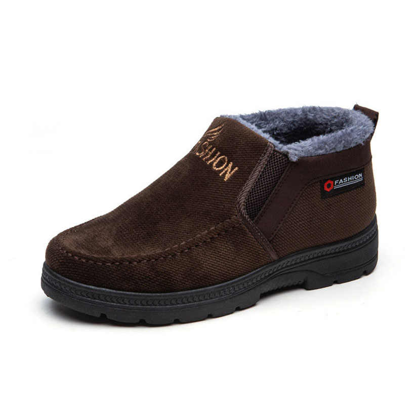Mannen Laarzen Plus Fluwelen Plus Katoen Laarzen Winter Casual Mannen Schoenen Warm Te Houden Trend Katoen Schoenen Warm enkellaars Zwart