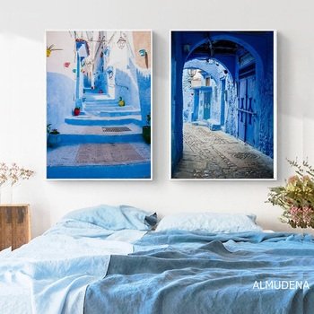 Morocco Decoration Travel Photography Posters and Prints Old City Blue Architecture Fine Art Print Canvas Painting Home Decor fine art wedding photography
