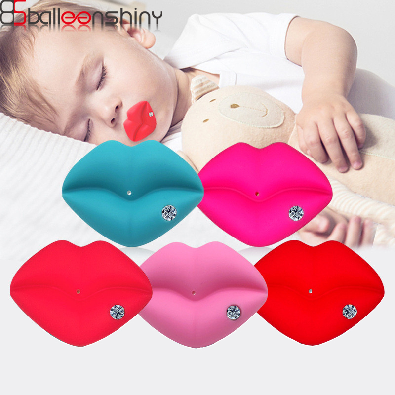 BalleenShiny Baby Red Mouth Lips Pacifiers With Diamond Infant Soft Silicone Nipple Baby Teether Soothers Teeth Care