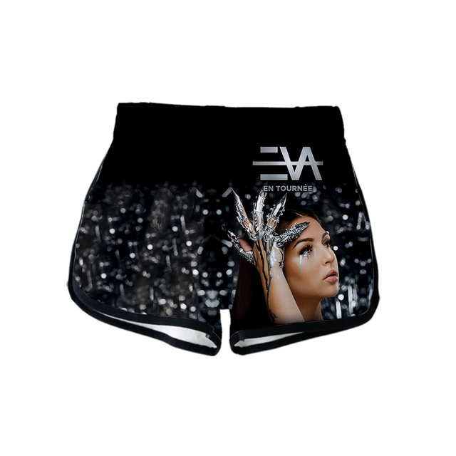 French singer EVA Queen Album 3D 2020 New Women Two Piece Sets Crop Top and Shorts Outfits Women Summer Sets 5