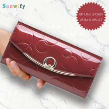 Fashion Diamond Genuine Leather Wallet Women Luxury Designer Patent Leather Wallets Female Clutch Ladies Fold Long Hasp Wallet(China)