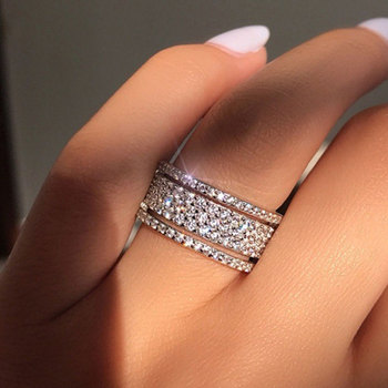 Elegant Silver Gold Color Rhinestone Crystal Ring Wide Stainless Steel Love Rings For Women Wedding Engagement Jewelry Gifts