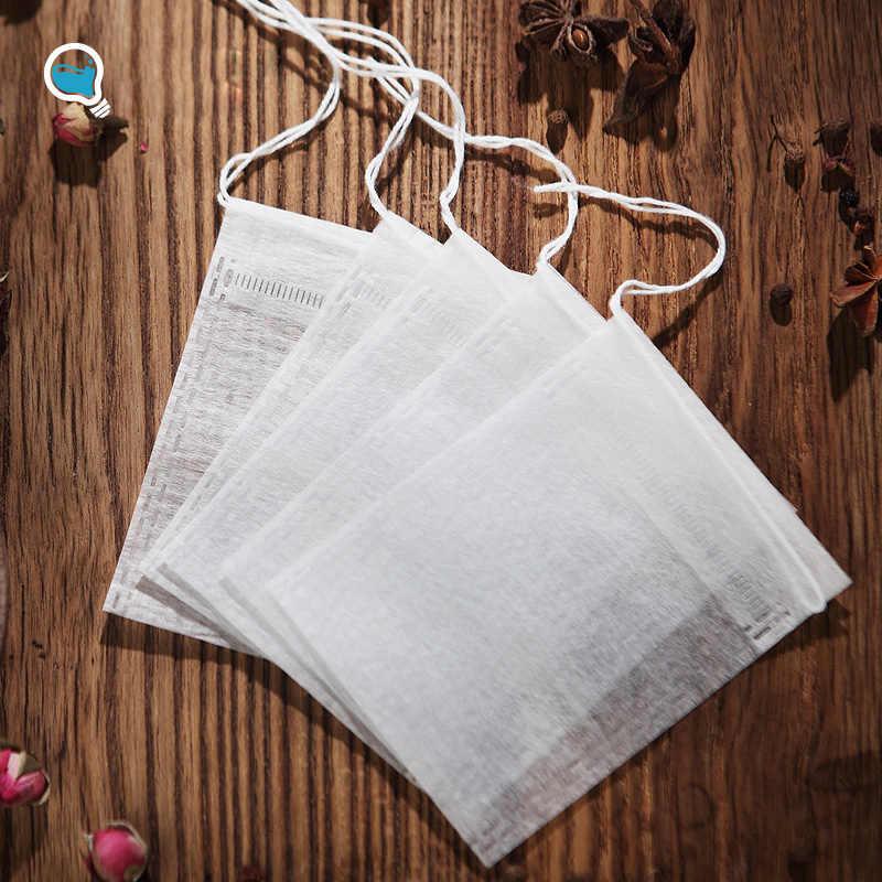 50 Teile/los Teebeutel 5,5x7CM Leere Duftenden Tee Taschen einweg Mit String Heilen Dichtung Filter Papier für Kraut lose Tee Bolsas de te