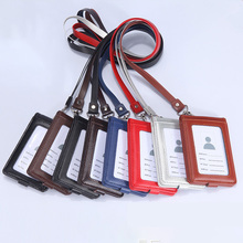 New Leather Multi-Card Position Badge Holder Transparent Lanyards Nurse cute Badge ID Card Package Bank Employee Name Tag Holder
