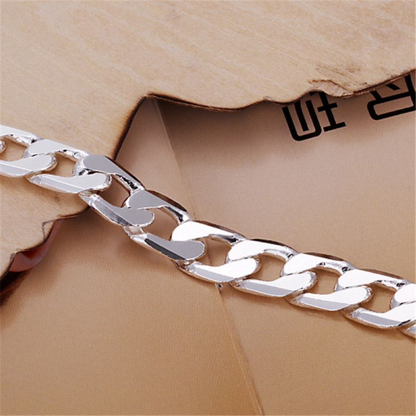 Classic , 6MM 8MM 10MM flat MEN bracelet silver color bracelets new high quality fashion jewelry Christmas gifts H262 4