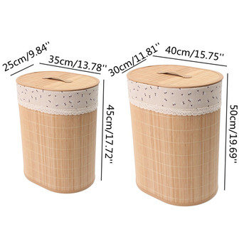 Household Bamboo Laundry Basket Clothes Toy Storage Folding Hamper Sorter Bin Organizer Laundry Hamper Bucket Collapsible Box 2