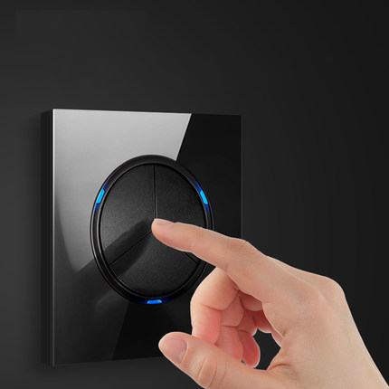 86 type 1 2 3 4 gang 1 2way black mirror glass wall switch panel LED light switch Industry France Germany UK socket with USB 1