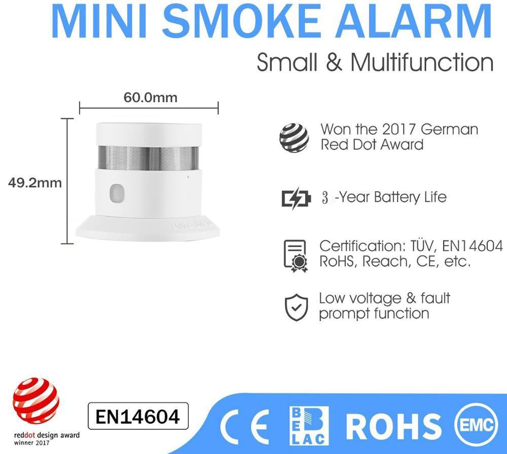 cheapest Haozee Zigbee Smoke Detector Smart Home system 2 4GHz High sensitivity Safety Prevention Smoke Sensor